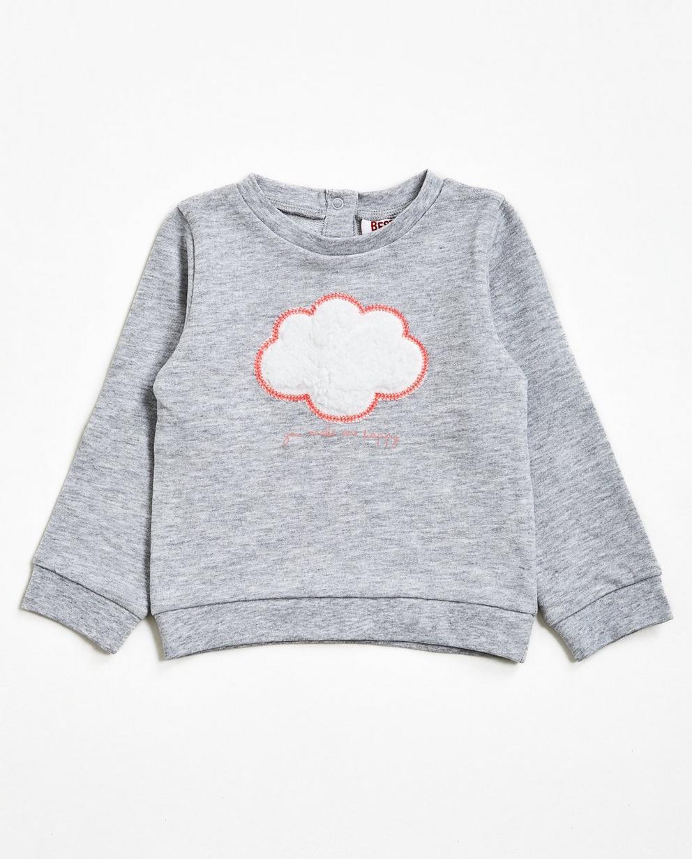 Sweater met zacht wolkje - in lichtgrijs, BESTies - Besties